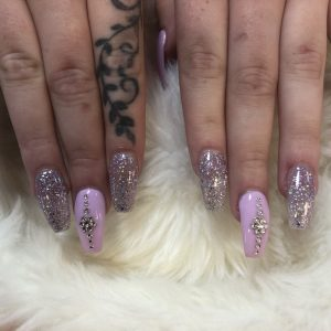 Acrylic nail extentions with diamonds design