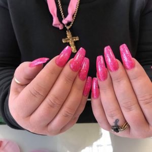 Glitter pink colour nail extension