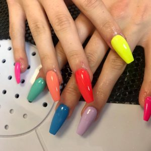 Multi colour coffin shape acrylic nail extensions with gel nail on top