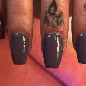 Coffin Nail Shape With Shellac Gel On Top
