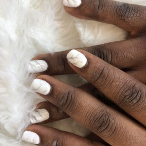 gel nail extensions with marble design