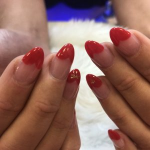 heart tips design nail extensions