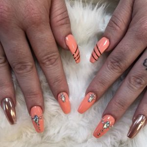 Nail Extensions With Diamond Design