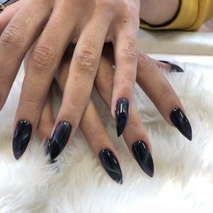 pointed nail shape with fine glitter gel on top