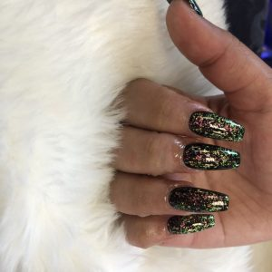 Sparking Coffin Shape Nail Extensions