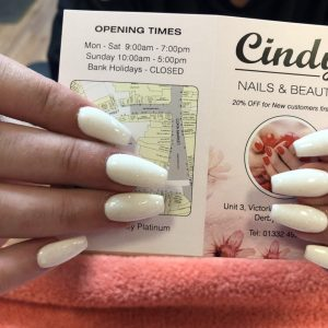 white coffin shape nail extensions