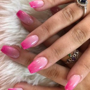 pink ombre nails with glitter design 060319 7